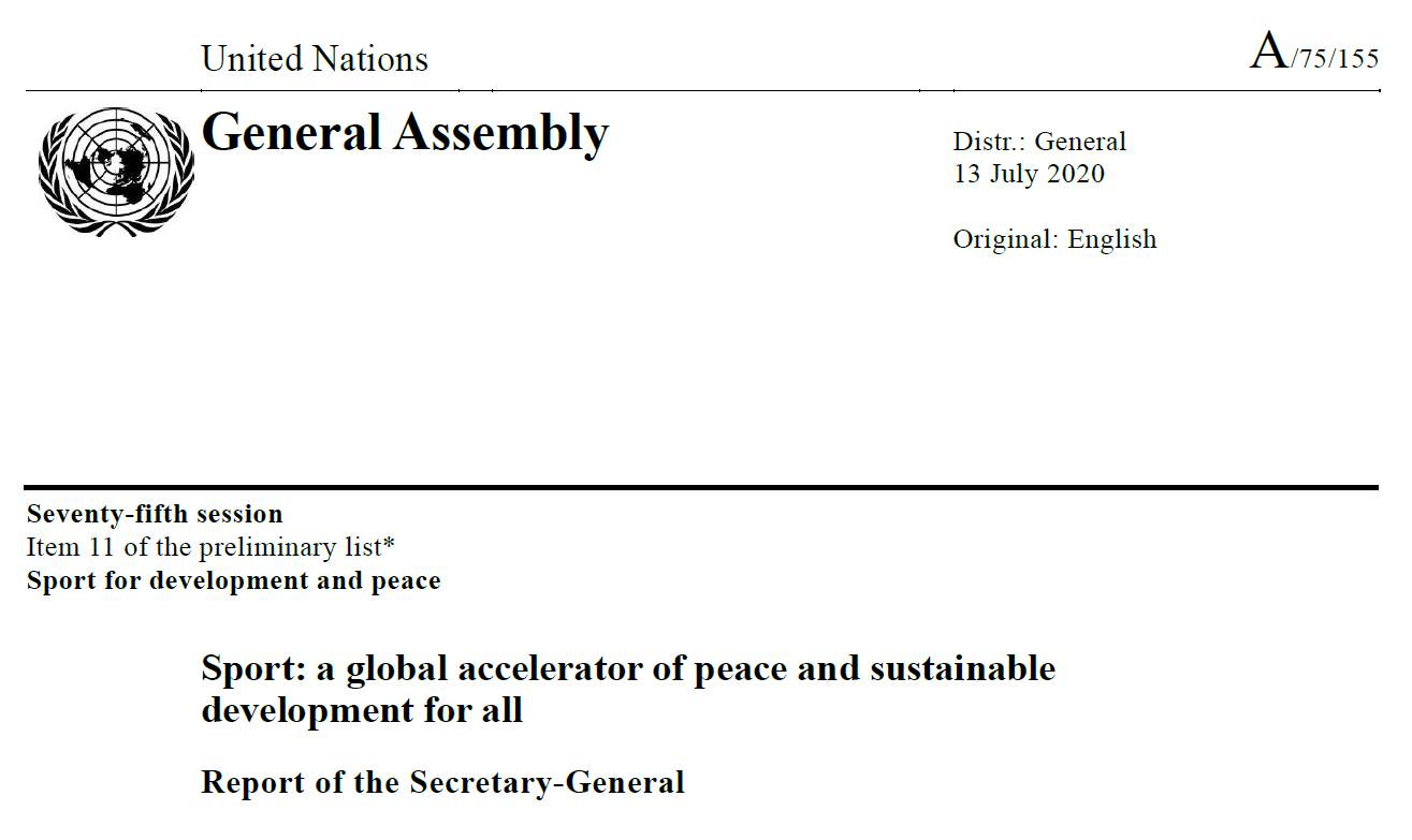 Sport: a global accelerator of peace and sustainable development for all