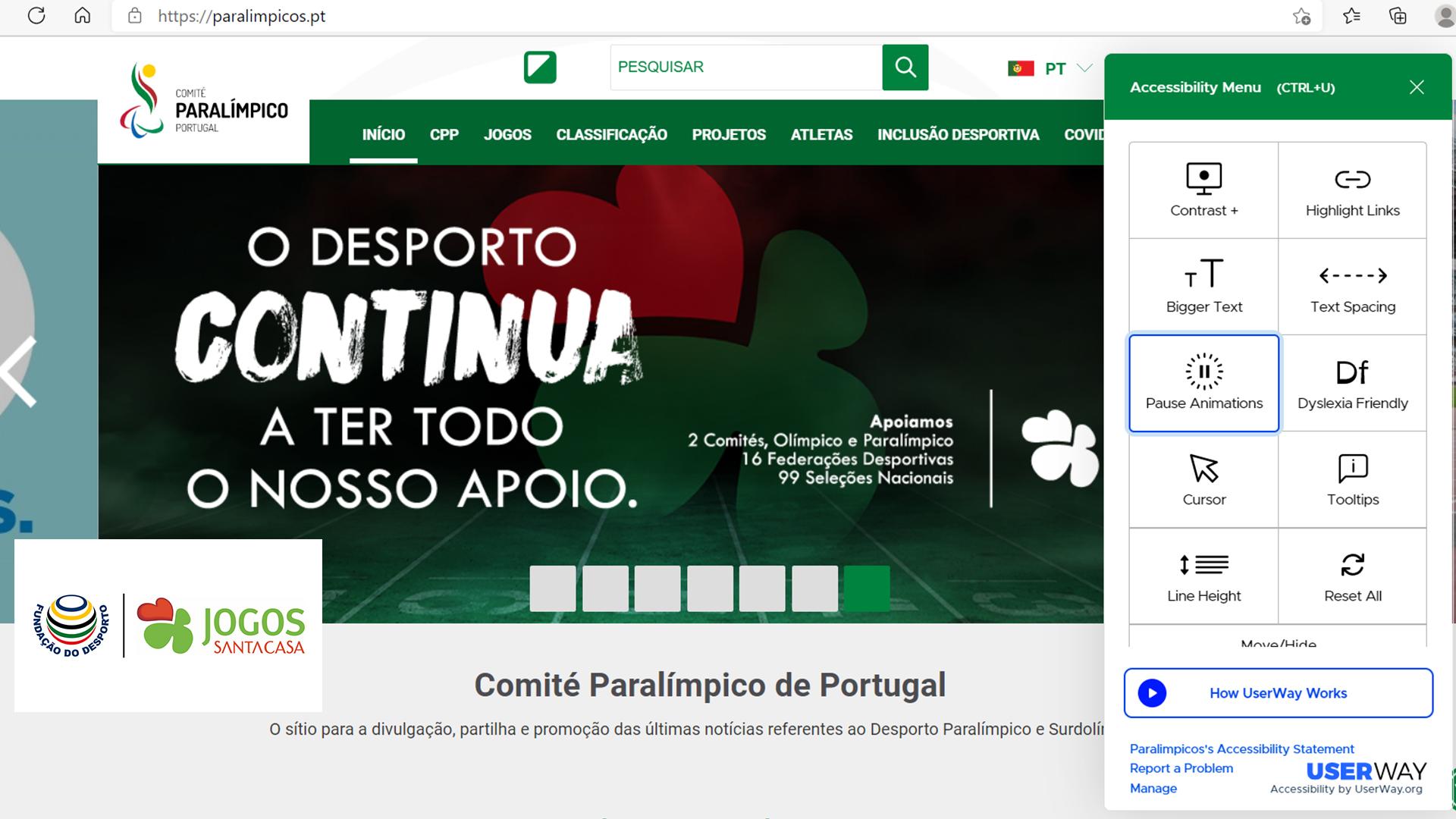 Fundação do Desporto e Jogos Santa Casa apoiam modernização do website paralímpicos.pt