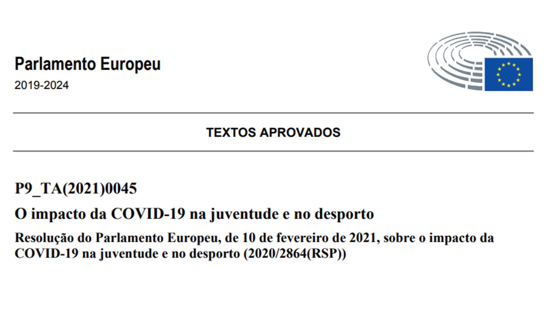 Resolução do Parlamento Europeu sobre o impacto da COVID‑19 no desporto